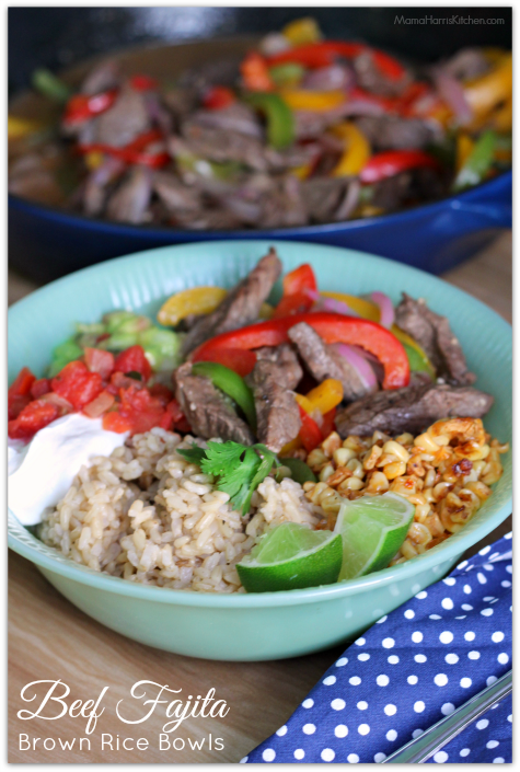 Beef Fajita Brown Rice Bowls with Roasted Corn, Pico de Gallo, Sour Cream and Creamy Cilantro Dressing using Sprouts Brand Beef and Products AD | Mama Harris' Kitchen