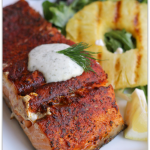 Grilled Blackened Salmon with Creamy Cucumber Dill Sauce