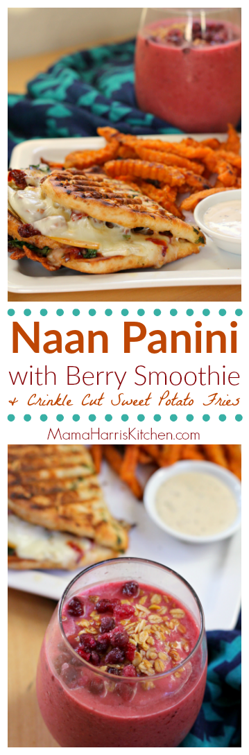 Naan Panini with Berry Smoothie and Crinkle Cut Sweet Potato Fries using Sprouts Brand Frozen Products AD | Mama Harris' Kitchen