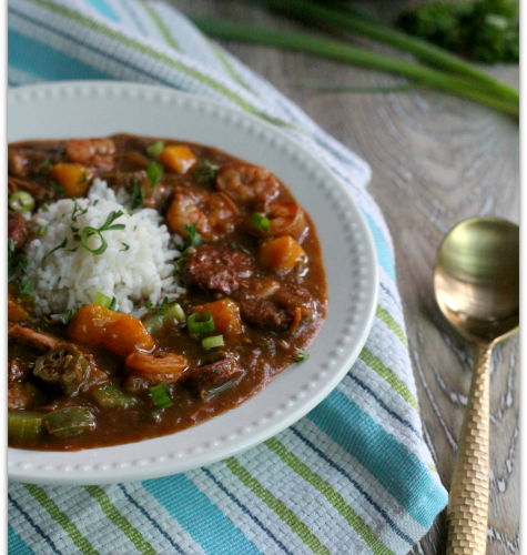 Shrimp, Chicken and Sausage Gumbo with Mango | Mama Harris' Kitchen