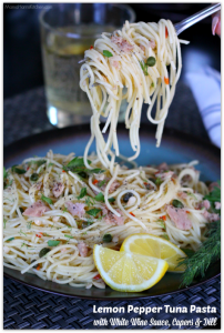 Lemon Pepper Tuna Pasta with White Wine Sauce, Capers and Dill