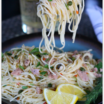 Lemon Pepper Tuna Pasta with White Wine Sauce, Capers and Dill #TearEatGo AD | Mama Harris' Kitchen