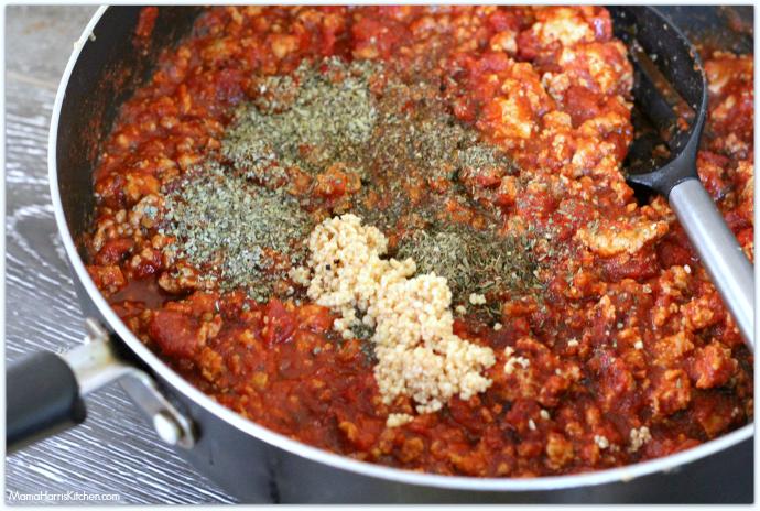 Cheesy Baked Ravioli Creamy Marinara Meat Sauce | Mama Harris' Kitchen