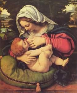Madonna mit dem grünen Kissen (Maria lactans) von Andrea Solario (16. Jh.)