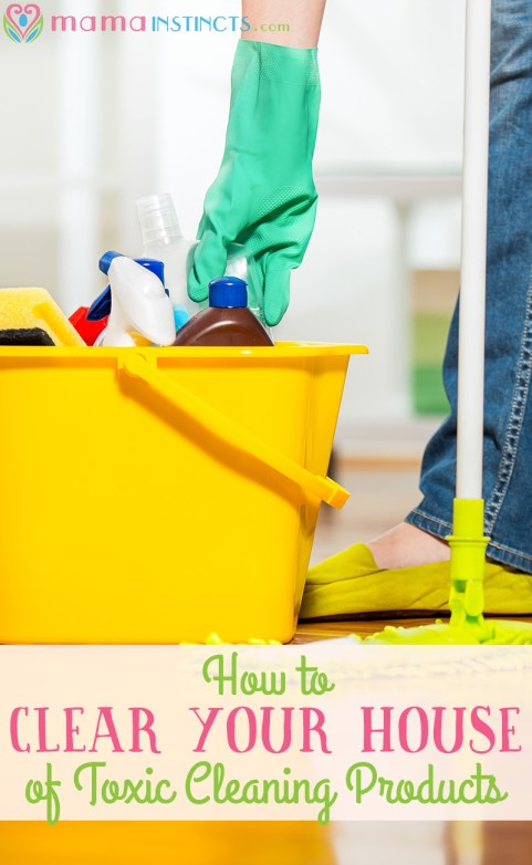 Avoid toxic cleaning products in your home and keep your family safe from harmful chemicals. Find out how clear your house of toxic cleaning products and which are our favorite non-toxic products. Click to read more or pin it for later.