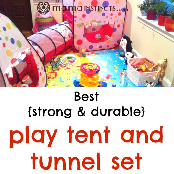 Tired of tent sets that break or are complicated to set up? I was too until I found this one. We've had it over 3 years and it's still like new. #babygear #toys #kidtoys #playtent #playtunnel