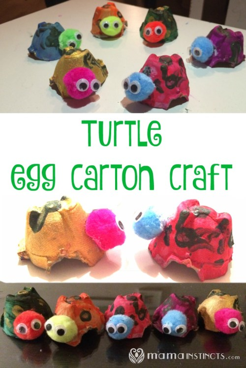 Easy craft for kids and toddlers. #crafts #eggcartoncraft #turtlecraft