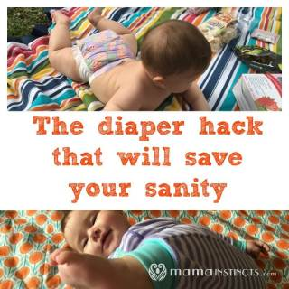 Do you have a baby that tries to move or kicks you as soon as you try to change his diaper? Then try this hack to get him to be still while you change his diaper.