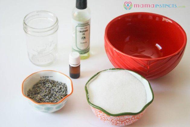 ingredients-for-lavender-cedarwood-sugar-body-scrub