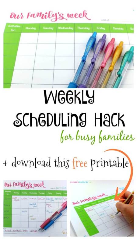 Organize your family's weekly schedule with this free printable for a less stressful and overwhelmed week. You'll be able to see your family's schedule with one glance and stay on top of everything