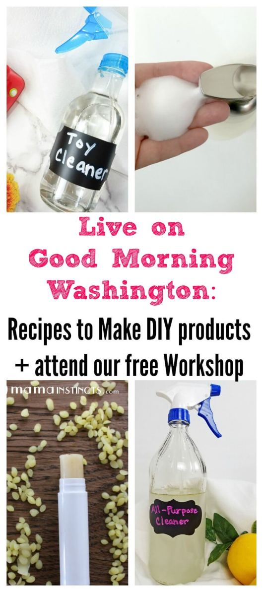 Check out my segment on Good Morning Washington where I show you how to make DIY products you can use at home and grab the recipes for these products. Plus get all the details to attend our free workshop.