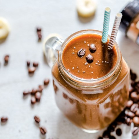 Creamy Coffee Smoothie Recipe with Bananas, Coconut Milk and Flax Seeds