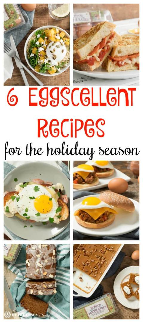Try these delicious recipes for your next family get-together or holiday party. They include Savory Pizza Stuffed French Toast, Poached Egg Harvest Quinoa Bowls, Pumpkin Pecan Pie Bars, Gingerbread Loaf, Classic Croque Madame, and Smoky Sloppy Joes with Fried Eggs. #eggrecipes #holidayparty