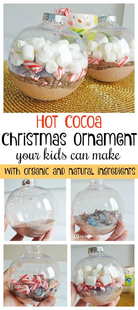 Make this simple yet adorable homemade Hot Cocoa Christmas Ornament with your kids. It helps develop their fine motor skills and encourages giving to others. #Christmas #ChristmasCraft #ChristmasOrnament