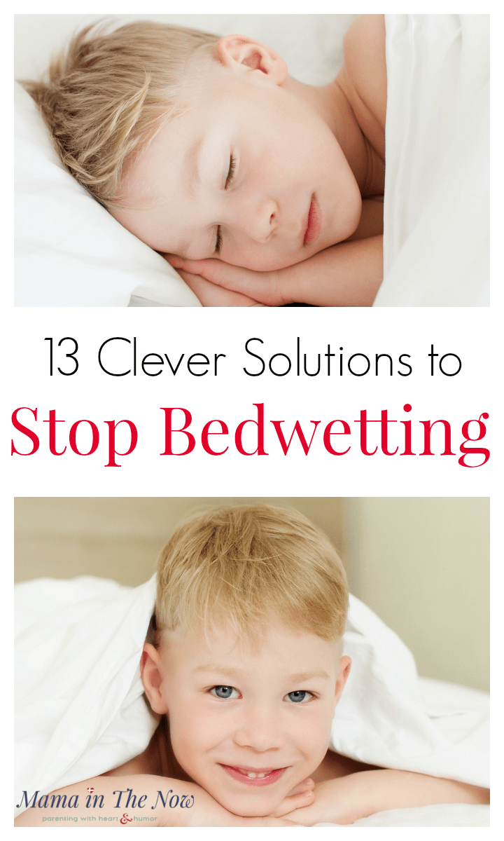 10 clever solutions to stop bedwetting in kids. Enjoy waking up to dry mornings. Now that your toddler is potty trained, wouldn't it be nice to be done with diapers once and for all? So which strategies work to stop bedwetting? These tips are from a mother of four boys with lots of bedwetting experience. These tips will give you encouragement and the tips you need to help your child overcome bedwetting. #Bedwetting #nocturnalenuresis #PottyTraining