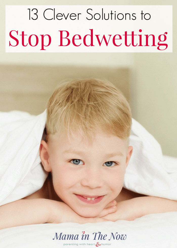 13 clever solutions to stop bedwetting in kids. Enjoy waking up to dry mornings. Now that your toddler is potty trained, wouldn't it be nice to be done with diapers once and for all? So which strategies work to stop bedwetting? These tips are from a mother of four boys with lots of bedwetting experience. These tips will give you encouragement and the tips you need to help your child overcome bedwetting. #Bedwetting #nocturnalenuresis #PottyTraining