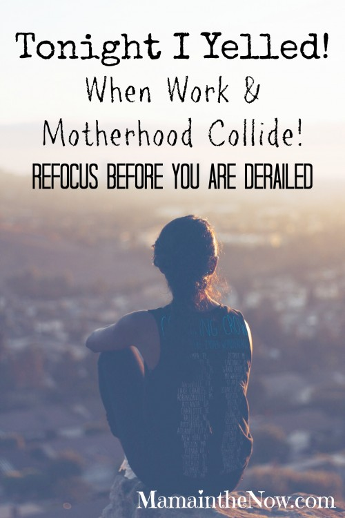 Tonight I Yelled. When Work and Motherhood Collide. Learn to Refocus before you are derailed.
