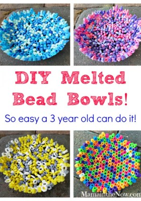 DIY Melted Bead Bowls, made with Perler fuse beads by @MamaintheNow