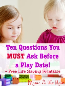 Ten Questions You MUST Ask Before a Play Date! + FREE Life Saving Printable