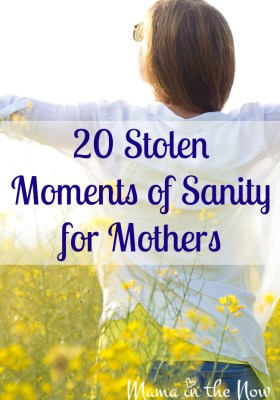 20 Stolen Moments of Sanity for Mothers. Motherhood encouragement from a mother of four!