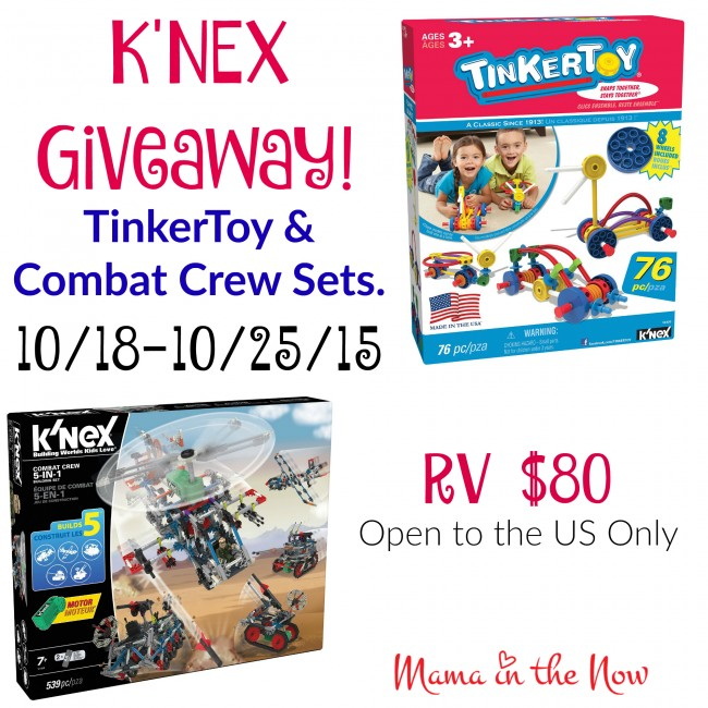 K'Nex Giveaway of TinkerToys and Combat Crew, RV $80