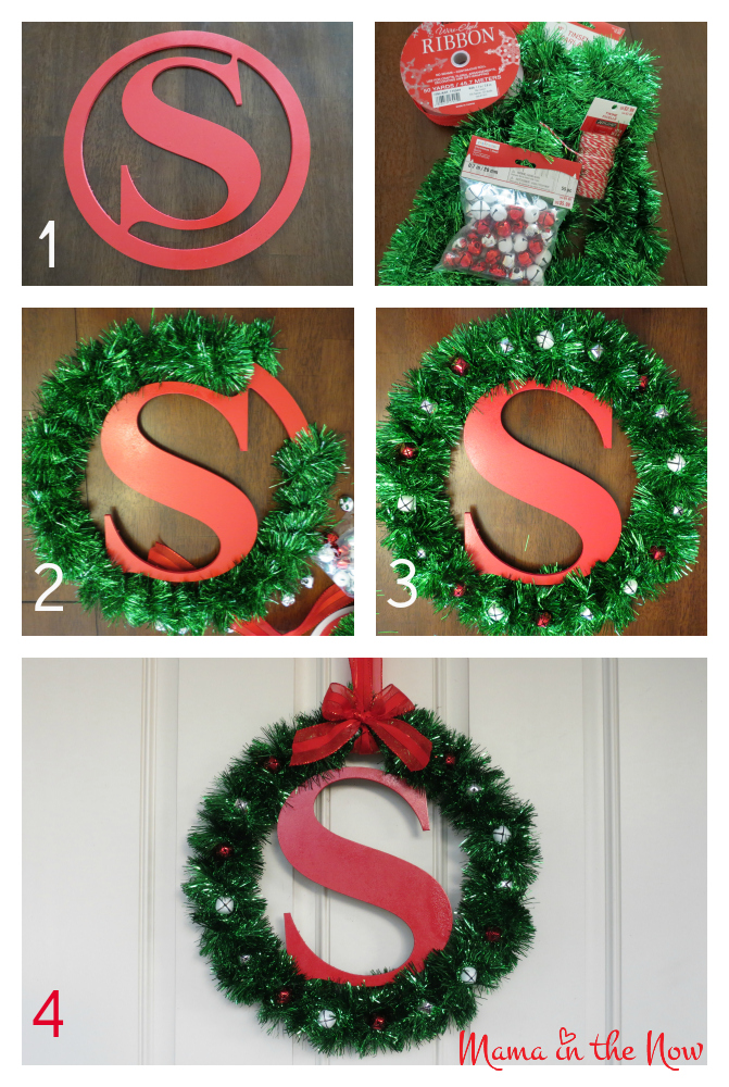 DIY monogram Christmas wreath craft. This statement piece created in a few minutes will last years on your door or over the mantel.