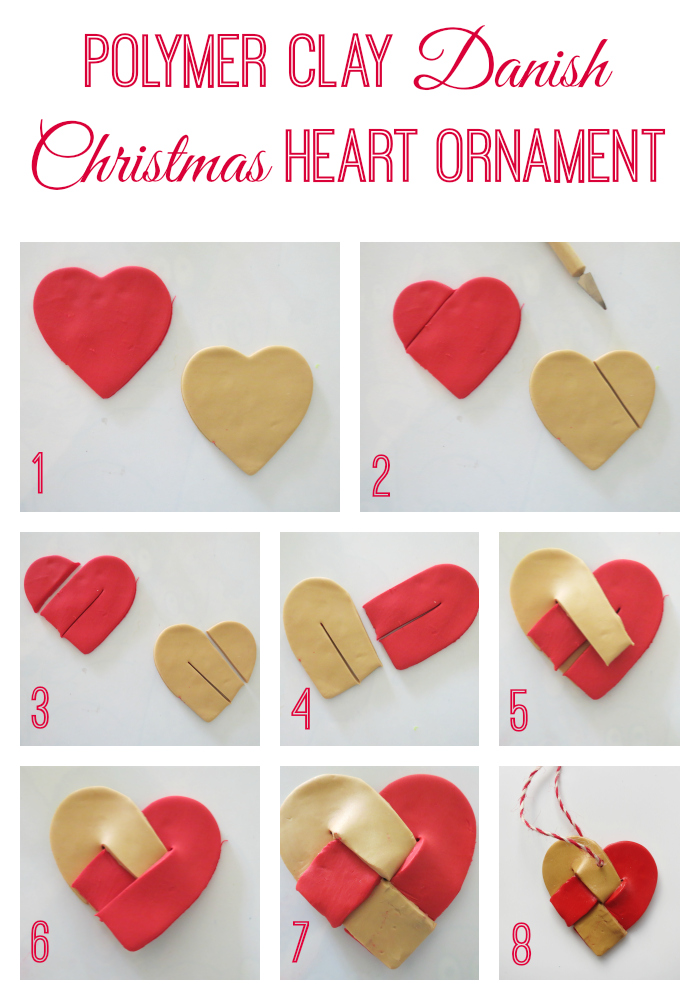 Polymer clay Danish Christmas heart ornament. This beautiful decoration is kid-friendly and fun for kids of all ages to make. These hearts make wonderful presents too.