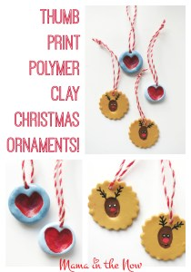 Thumb print polymer clay christmas ornaments. These adorable, kid-friendly gifts and decorations are easy and fun to make.