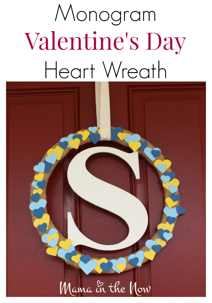 This DIY monogram Valentine's Day heart wreath makes quite the statement piece on your front door. Perfect home decor through spring and beyond. Beautiful mantlepiece craft as well.