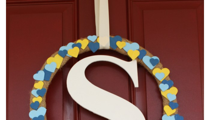 DIY Monogram Valentine's Day Heart Wreath