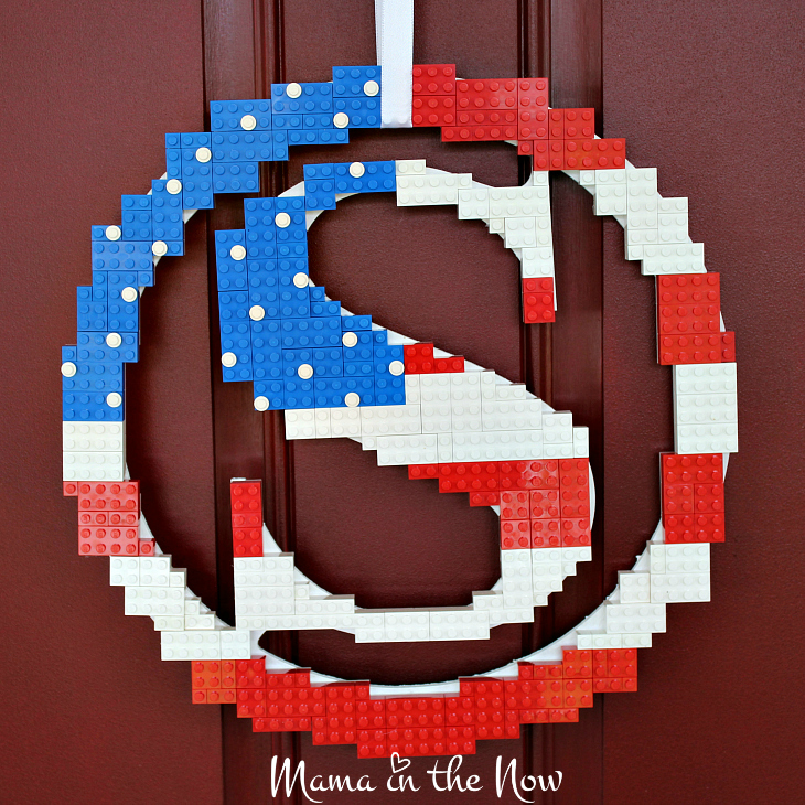 How to make this season's most awesome LEGO wreath. Instructions and creative inspiration for you to build your own DIY LEGO Red, White and Blue Flag Wreath. Perfect for Memorial Day and the 4th of July!
