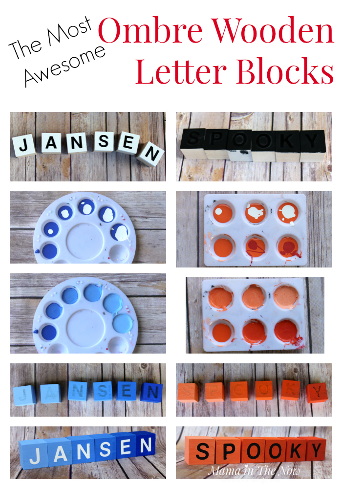 How to make the most awesome ombre wooden letter blocks. Complete instructions to create this spelling learning tool and fun Halloween decoration.
