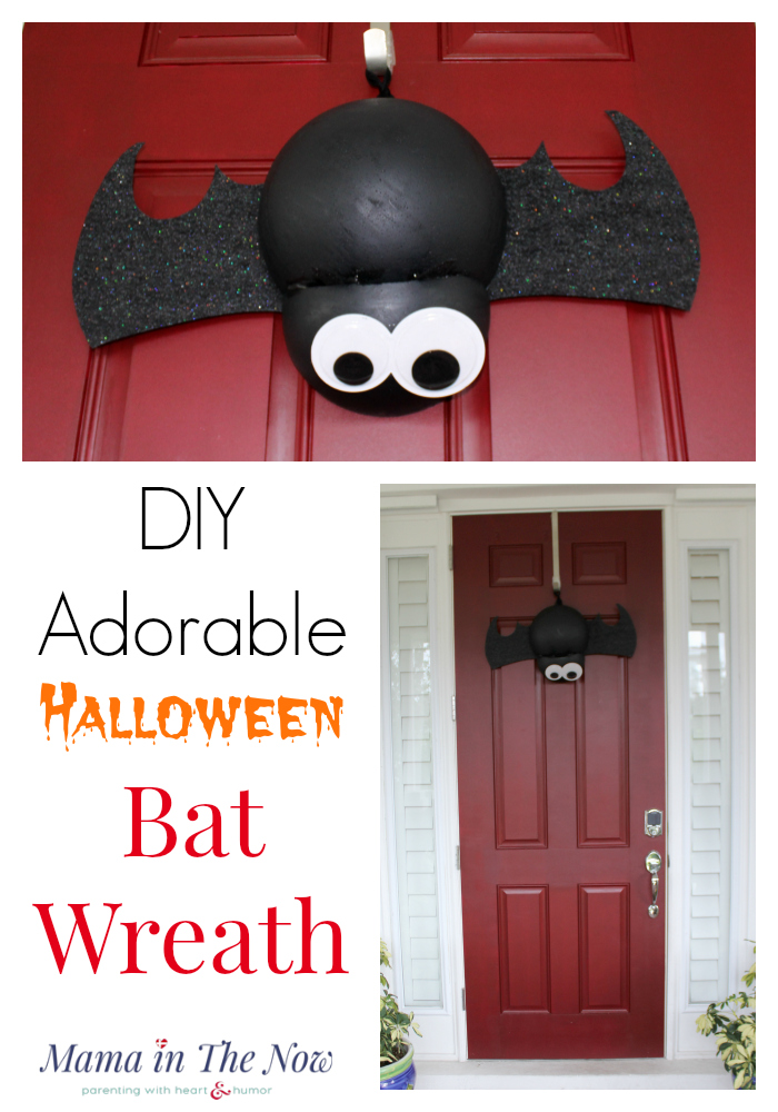 You need a Halloween bat wreath as your door decoration, don't you? This easy craft is a perfect project for kids to help with. Not-spooky Halloween fall decoration.