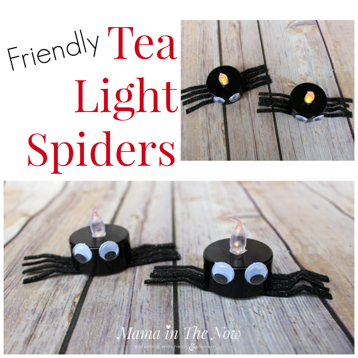 We love these fun and easy-to-make tea light Halloween decorations. Host a Halloween party without spooky decor. Kid-friendly spiders, toddler and preschool activity.