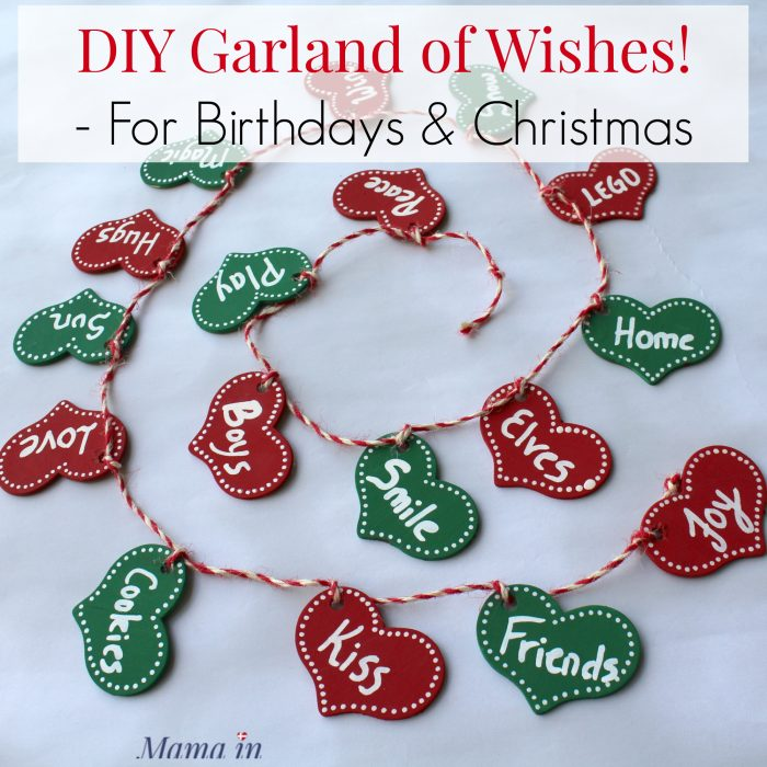 Create your own heart garland showing your family's Christmas or birthday wishes. Perfect for a 1st birthday decoration or Valentine's Day decor.