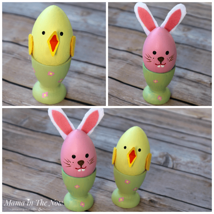 Easter bunny and spring chicken wooden egg decorations. Adorable for Easter or spring crafts for kids.
