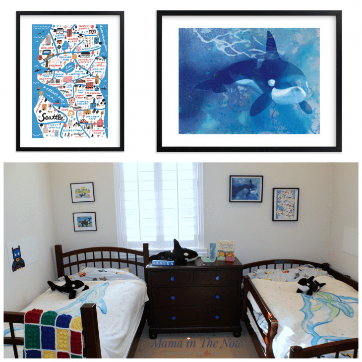 Wall art for our whale themed kids bedroom from Minted. Map of Seattle, fun wall decoration, beautiful whale picture for big kids bedroom. Quality and affordable wall art for a kid's room.