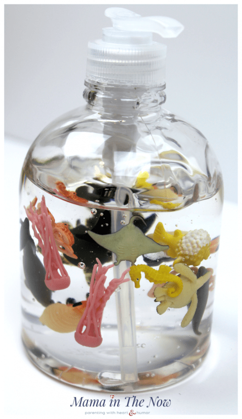 Adorable DIY hand sanitizer the kids will enjoy using. This turtle and sea life decorated bottle is perfect for a homework station, kids room or bathroom. Beach themed bathroom