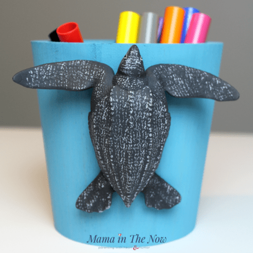 Adorable pencil cup decorated with a Leatherback Sea Turtle. Adorable for a home office or homework station.