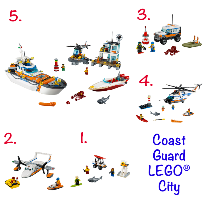 """LEGO City recently announced a new line up of Coast Guard inspired sets. These sets are great for the young school-aged kids. Adorable """"back to school"""" gift idea. Sea plane, shark, surfers, octopus and helicopters are standard pieces in this line-up."""