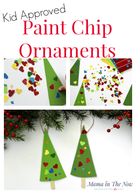 Paint chip Christmas ornaments, easy homemade Christmas presents for kids, toddlers, preschoolers. Paint Chip craft idea. Frugal DIY Christmas ornament and Christmas present. Play with color, learn color recognition with paint chips. Homeschool preschool activity with paint chips. Fun and easy craft for toddlers. Fine motor skill exercise.