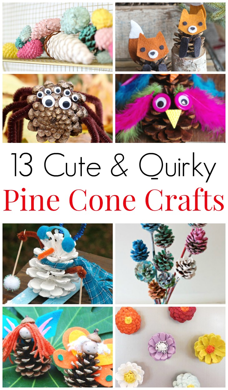 13 Cute & Quirky Pine Cone Crafts. Mother nature craft idea for toddlers and tweens. Birthday party pine cone activities. Pine cone animals, pine cone flowers, pine cone decorations - pine cone fun for all ages! #PineCones #PineConeCraft #MotherNatureCraft #PineConeFun