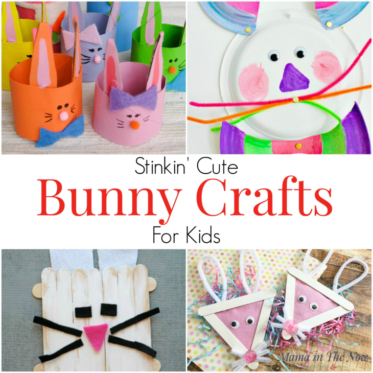 12 Bunny Crafts for kids. Easter crafts for kids with stinkin' cute bunnies. Crafts for kids of all ages perfect for spring and Easter. #BunnyCrafts #CraftsforKids #EasterCrafts #SpringCrafts #MamaintheNow
