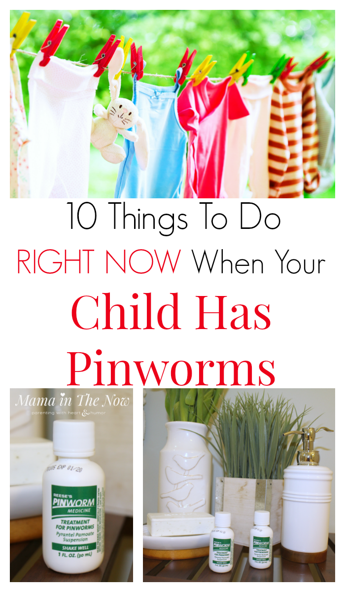10 things to do RIGHT NOW when your child has pinworms. Pinworms in kids are NO JOKE, but these must-do tips will help you combat them quickly. Fight pinworms effectively. Learn how to treat pinworms, from a mom who's been there and done that. #Pinworm #PinwormMedicine #PinwormTreatment #MamaintheNow #MyKidsHasPinWorms #HowtogetridofPinworms