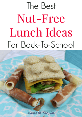 Nut-free lunch planner. Nut-free lunch ideas for back to school. When your school is nut-free and your child loves peanut butter, fear not, there's something for everyone on this comprehensive list. Besides - here's an adorable LEGO sandwich too for back to school. #backtoschool #LEGO #lunchideas #nutallergy #nutfreelunchideas #peanutallergy #foodallergy #safelunchideas #schoollunches