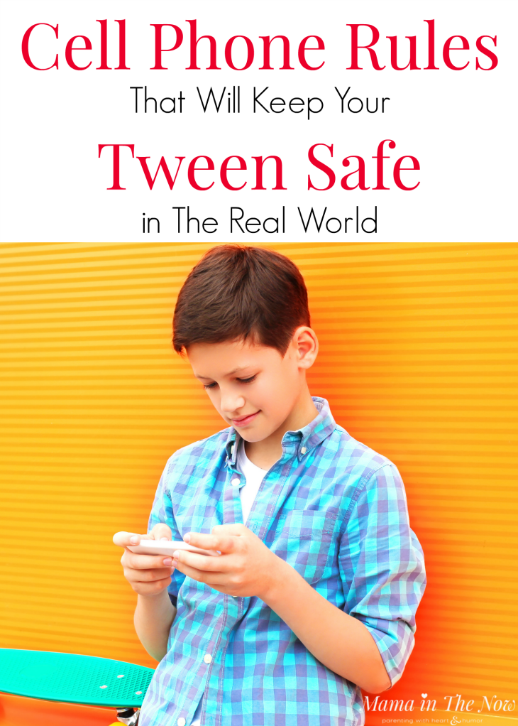 Cell phone rules that will keep tweens safe in the real world. Cell phone contract for tweens. Tweens with cell phones. Cell phone safety rules for tweens and teens. Family tech rules. #CellPhoneRules #TechnologyRules #FamilyTechRules #ParentingTweens #ParentingTeens #CellPhoneRules #Tween #Teen #ParentingTips #InternetSafety #Mamainthenow