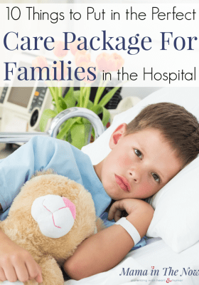 Put together the perfect care package for families in the hospital. Cheer up a medical mom. Show kindness towards families in the hospital with these care package ideas. #CarePackage #SpecialNeeds #CarePackageIdeas #SpecialNeedsFamilies #Kindness #MamaintheNow