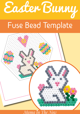 Easter bunny perler bead pattern. Free perler bead template to make a cute bunny. Fuse bead bunny template. Fuse bead Easter templates. #Perlerbeads #Perlerbeadpattern #perlerbeadtemplate #fusebeads #meltybeads #mamainthenow #EasterCrafts