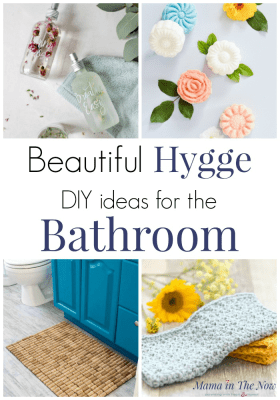 Live a hygge lifestyle. These hygge DIY ideas for the bathroom are sure to add coziness and comfort. Hygge home decor ideas for the bathroom. Home decorations and DIY crafts for the bathroom. #Hygge #BathroomDIY #HomeDecorDIY #HyggeBathroom #MamaintheNow #BathroomDecorations