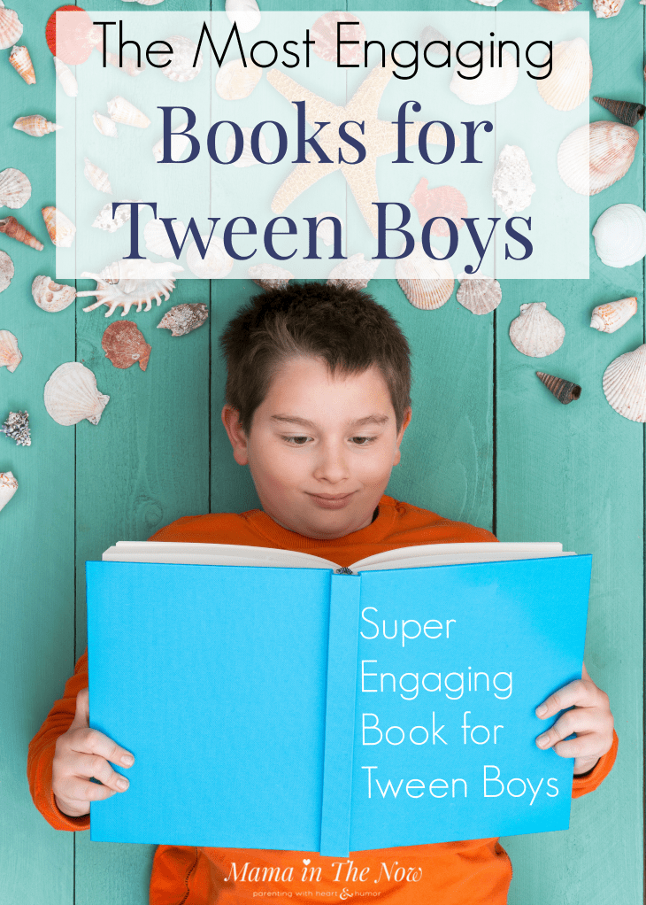 Best book recommendations for tween boys. Books for tween boys. Book lists for reluctant tween readers. This list will keep your tween boy busy reading. #BookList #BooksforTweenBoys #BookRecommendations #BooksforTweens #ParentingTweens #MamaintheNow